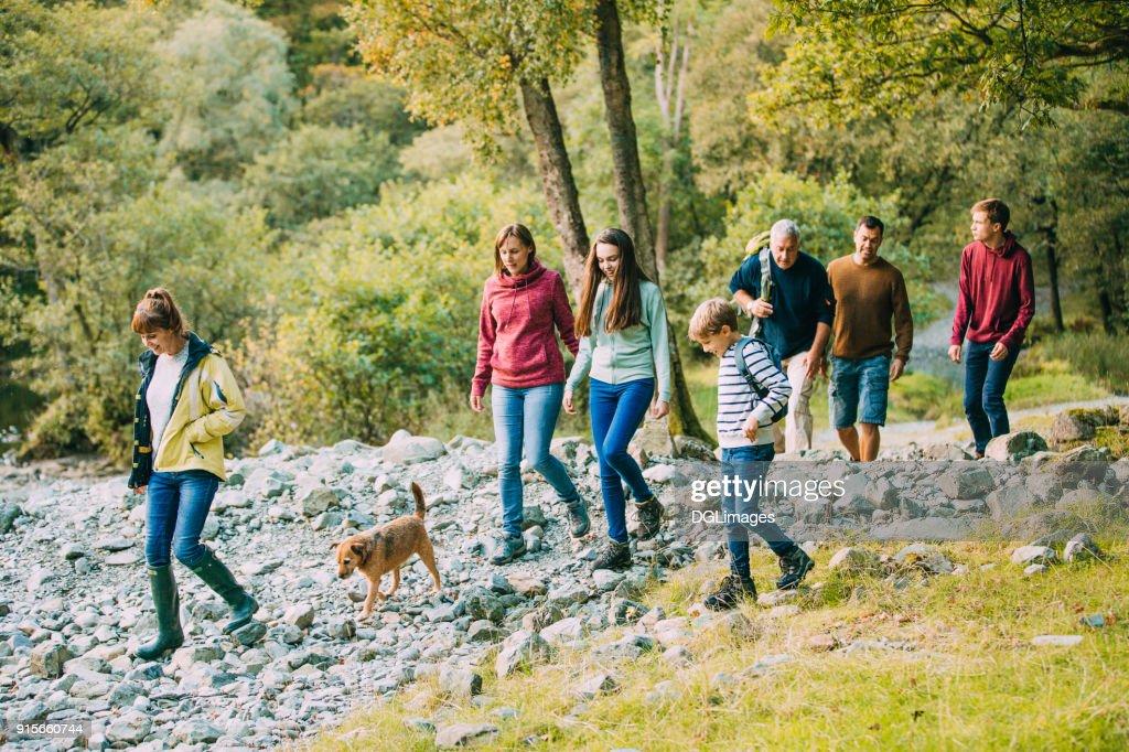 Three Generation Family Hiking through the Lake District : Stock Photo