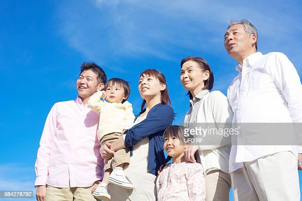 Three Generation Family Looking Up