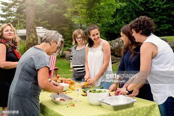 """three generation family of women preparing food outdoors. - """"martine doucet"""" or martinedoucet stock pictures, royalty-free photos & images"""