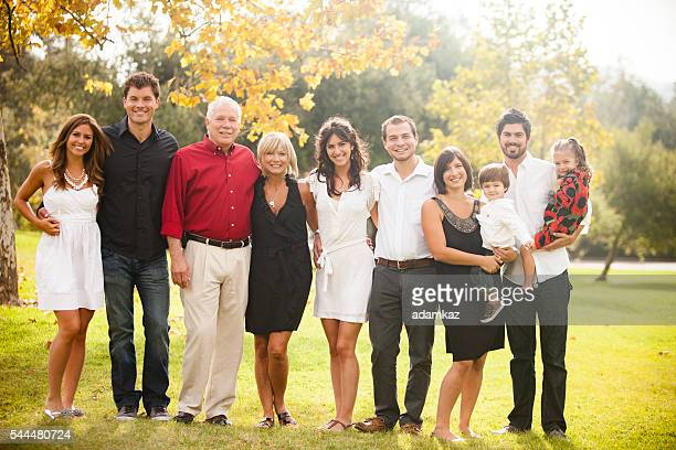 three generation family portrait - family reunion stock pictures, royalty-free photos & images