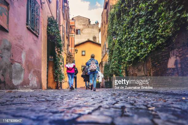 three generation family visiting rome, italy - rome italy stock pictures, royalty-free photos & images