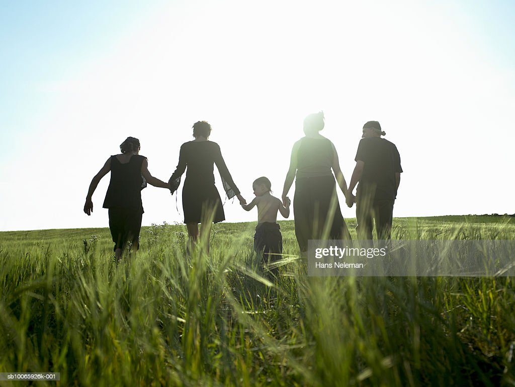 Three generation family walking down in field, rear view : Stock Photo