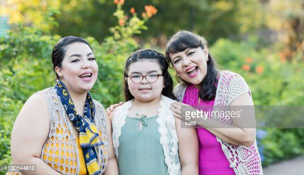 three generation hispanic family - chubby granny stock pictures, royalty-free photos & images