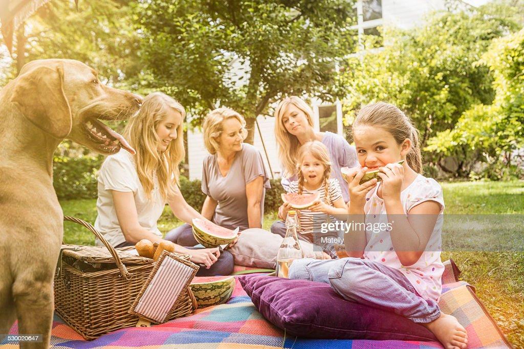 Three generation of women having picnic : Stock Photo