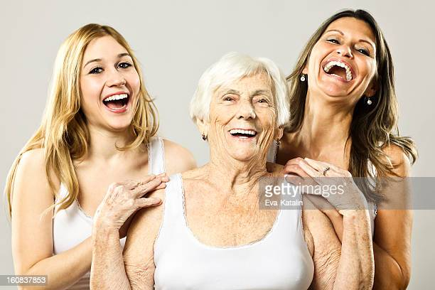 three generation - beautiful granny stock photos and pictures