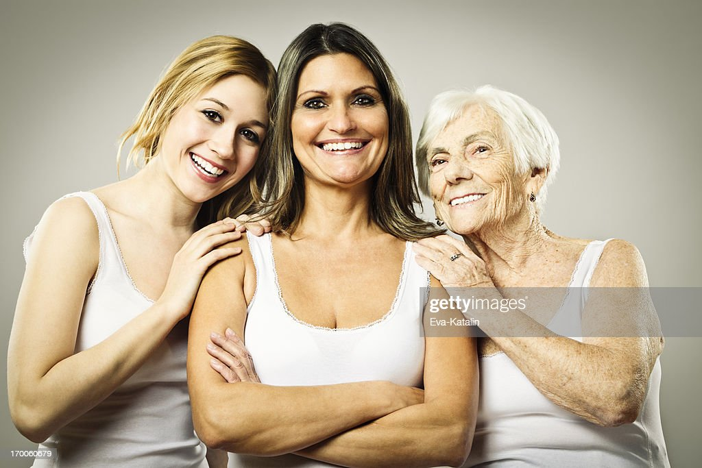 Three generation - portrait of a cheerful family : Stock Photo