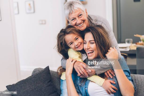 three generation women - bambine femmine foto e immagini stock