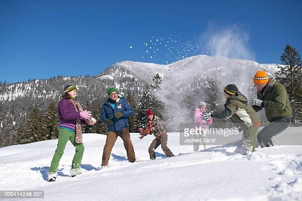 Trois générations de la famille ayant combat de boule de neige, alpine land