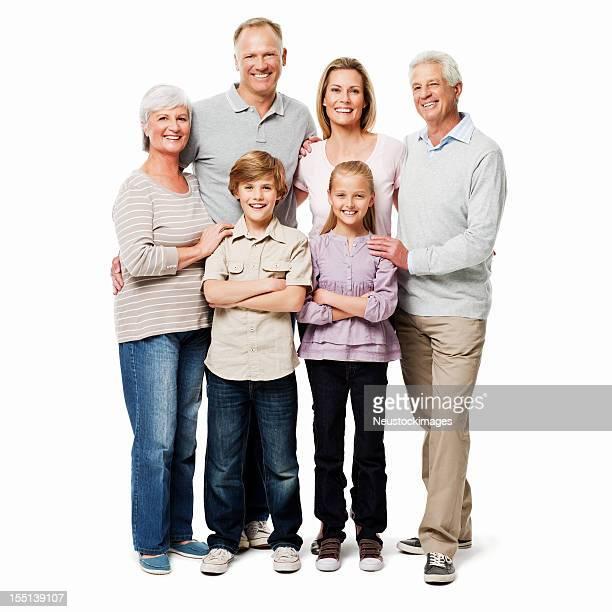 Drei Generational Familienporträt-isoliert