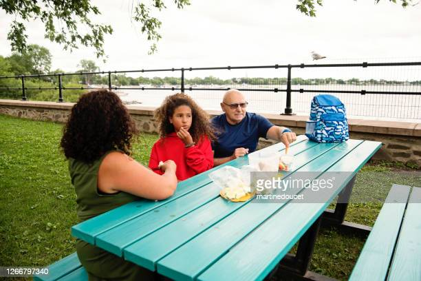 """three generations family picnic on riverside. - """"martine doucet"""" or martinedoucet stock pictures, royalty-free photos & images"""