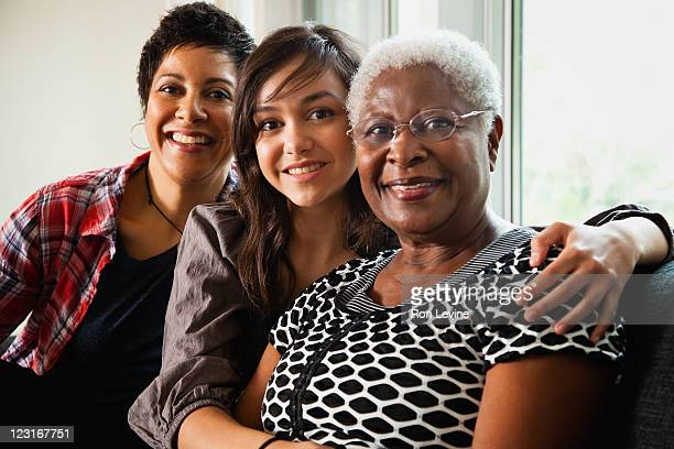 three generations of african -american women - multigenerational family stock photos and pictures