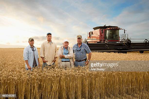 three generations of caucasian farmers in wheat field - tradição - fotografias e filmes do acervo