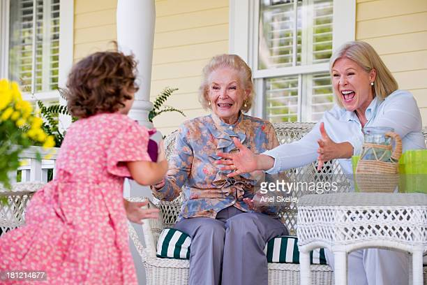 three generations of caucasian women smiling - great grandmother stock pictures, royalty-free photos & images