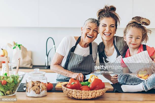 three generations of femininity and happiness - beautiful granny stock photos and pictures