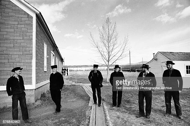 Three generations of Hutterite men at the Miller Colony in Montana A fundamentalist religious sect Hutterites live on communal farms with minimal...