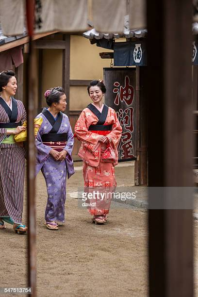Three Generations of Japanese Women in Traditional Dress Kimonos