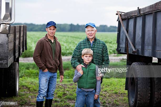 Three generations of men on family farm