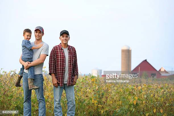 Three generations of men on farm