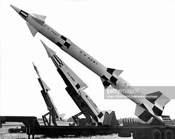 Three generations of NIke air defense missiles showing LR Ajax Hercules and Zeus late 1960s or early 1970s The Hercules Zeus had nuclear warhead...