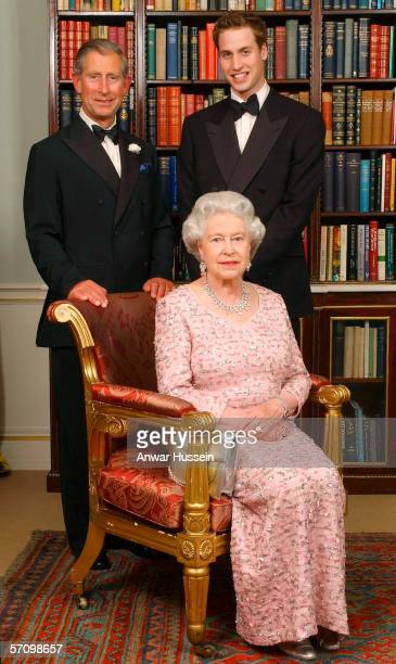 Three generations of the British Royal family Queen Elizabeth II Prince Charles the Prince of Wales and Prince William pose for a photograph at...