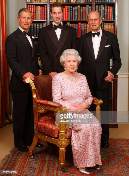 Three generations of the British Royal family Queen Elizabeth II sits in front of the Prince of Wales Prince William and the Duke of Edinuburgh as...