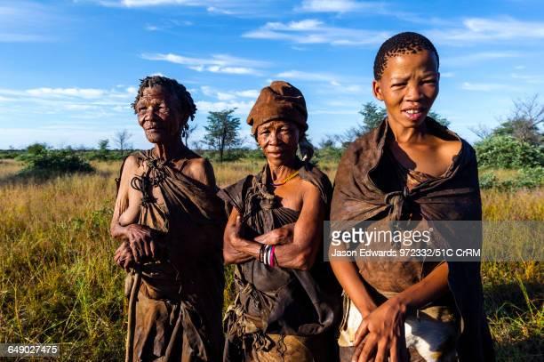 Three generations of women in a San Bushmen family