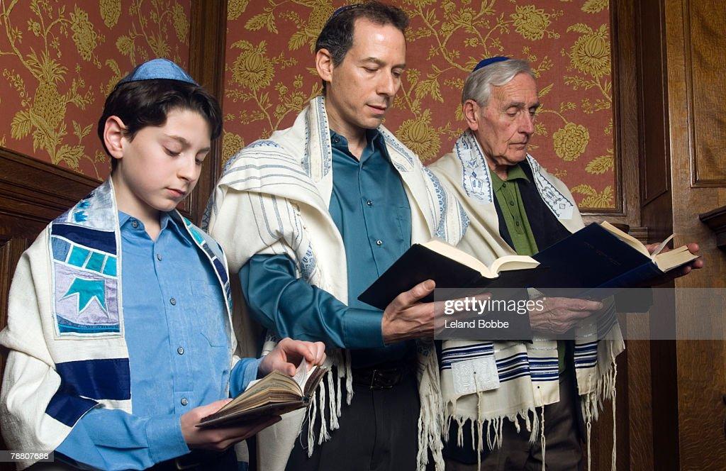 Three Generations Reading from the Torah : Stock Photo
