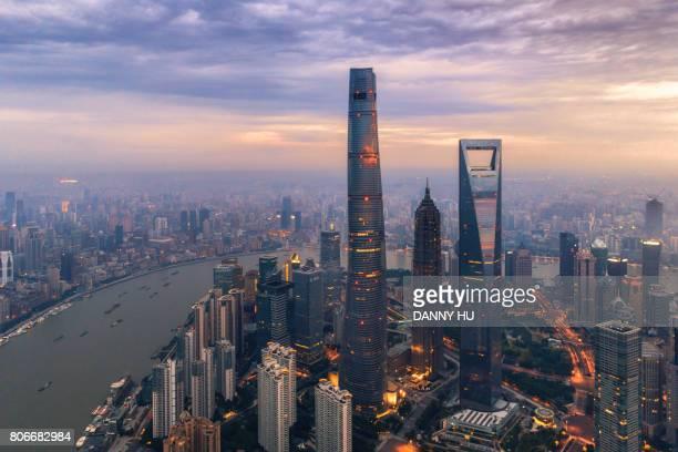 three giants in Lujiazui district, Shanghai