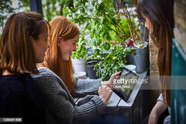 three girlfriends sitting on a balcony looking at a digital tablet - petite amie photos et images de collection