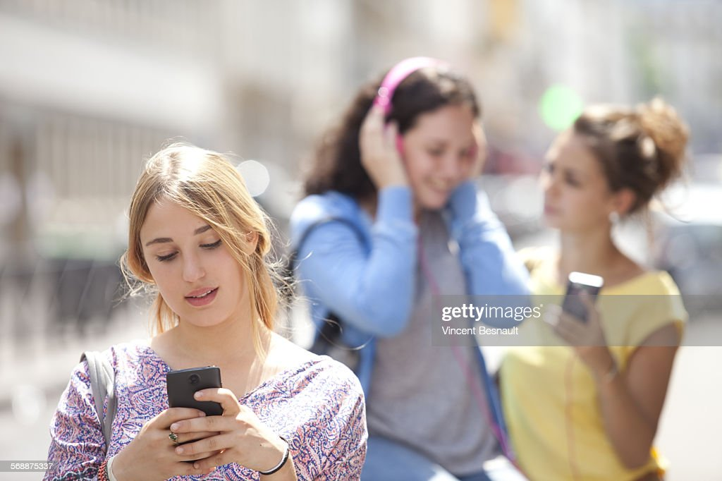 Three girls after school : Stock Photo