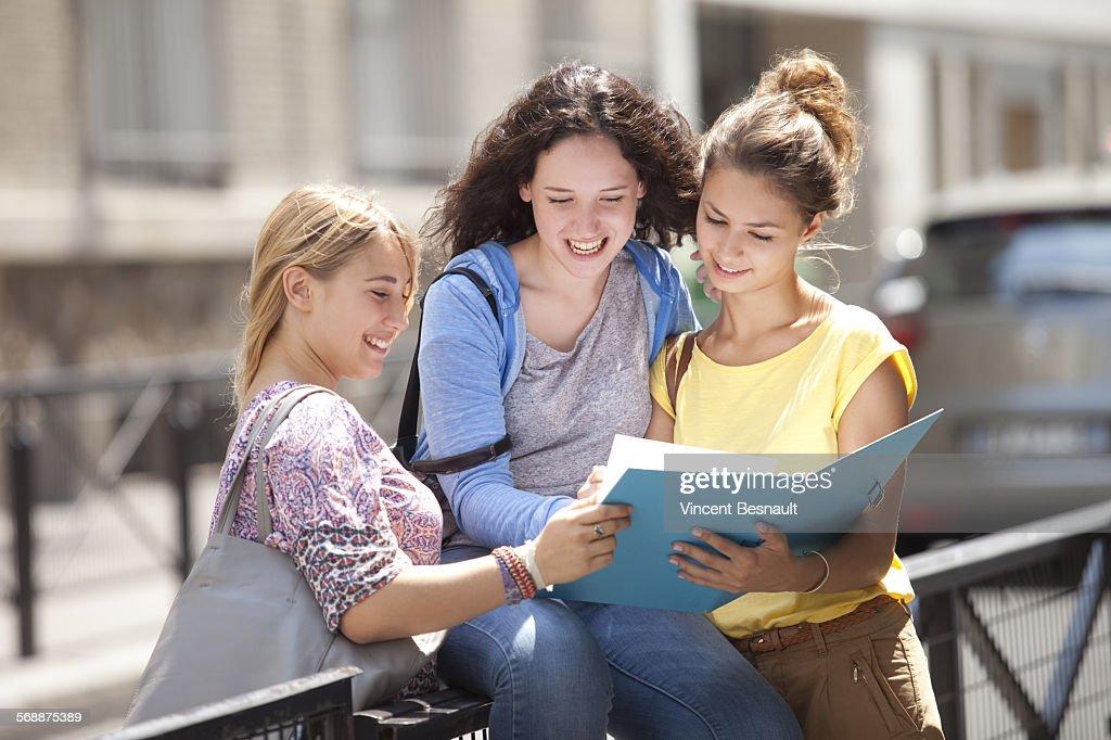 Three girls after school : Stock Photo