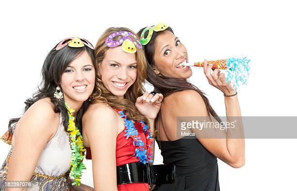 Trois filles célébrer une fête