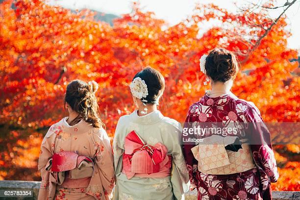 Three girls in Kimono at Kiyomizudera in Autumn