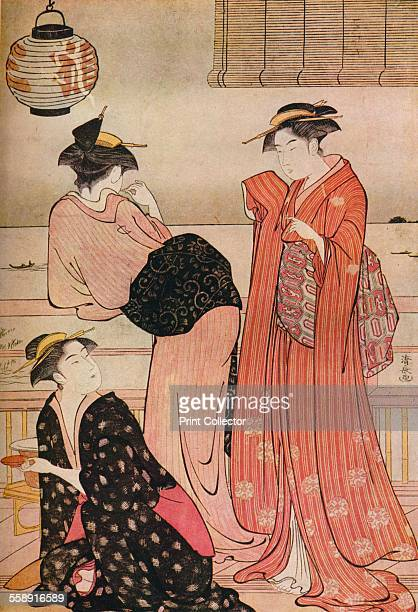 'Three girls on the veranda of a teahouse overlooking Edo Bay at Shinagawa' c17521815 From The Connoisseur Volume LXXXVII edited by C Reginald Grundy...