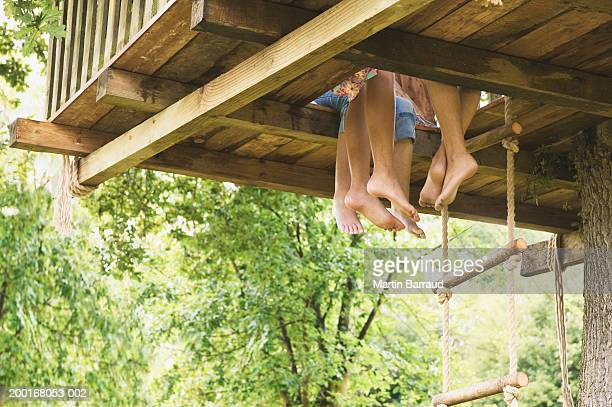Three girls (9-11) sitting in treehouse, low section, low angle view