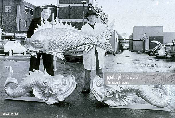 Three glass fibre weather vanes in the shape of fish before their erection on the new market building at Billingsgate London c1981 These are replicas...