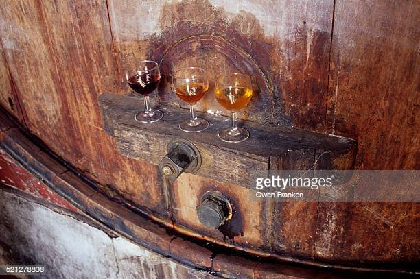 Three Glasses of Port on a Wine Cask