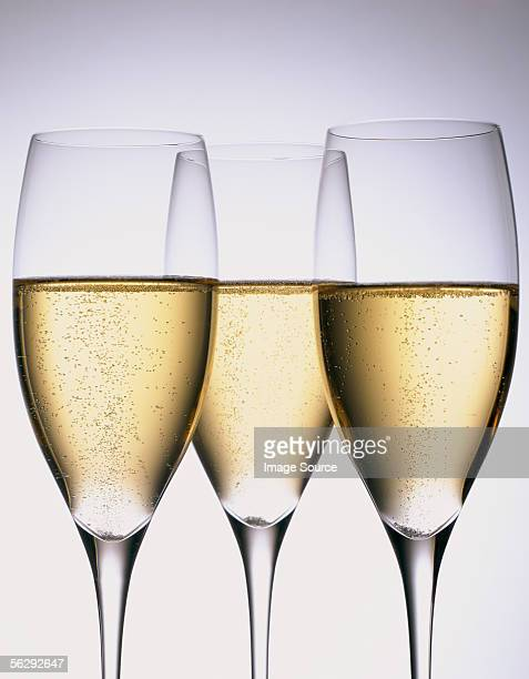 Three glasses of sparkling wine