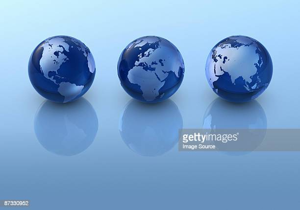 Three globes in a row