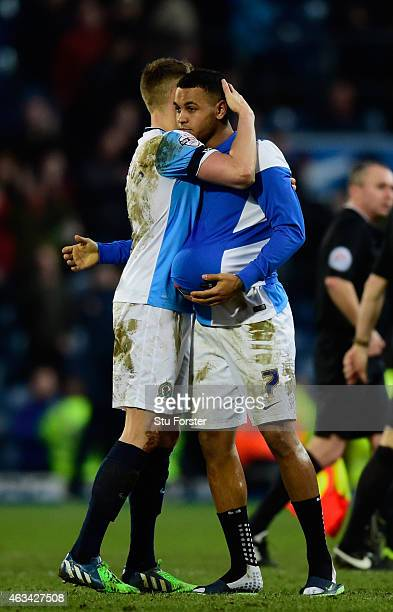 Three goal hero Josh King of Blackburn celebrates with captain Matt Kilgallon after the FA Cup Fifth round match between Blackburn Rovers and Stoke...