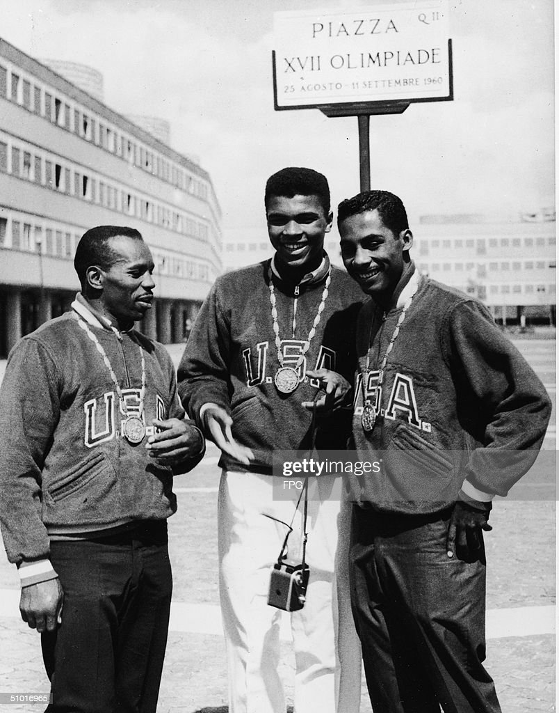 Three gold-medal winning American boxers pose in the Olympic Village, Rome, Italy, September 9, 1960. From left, Eddie Crook, Cassius Clay (later known as Muhammad Ali), and Skeeter McClure.