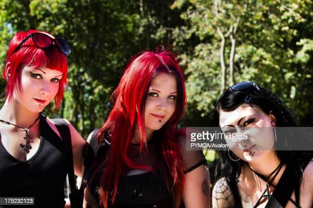 Three Goth / Metal girls Helsinki 2010