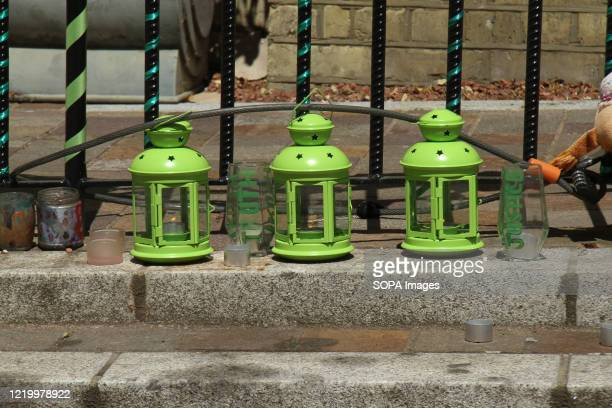Three green lanterns by the entrance of the Notting Hill Methodist Church during the 3rd anniversary of the Grenfell fire Seventytwo people were...