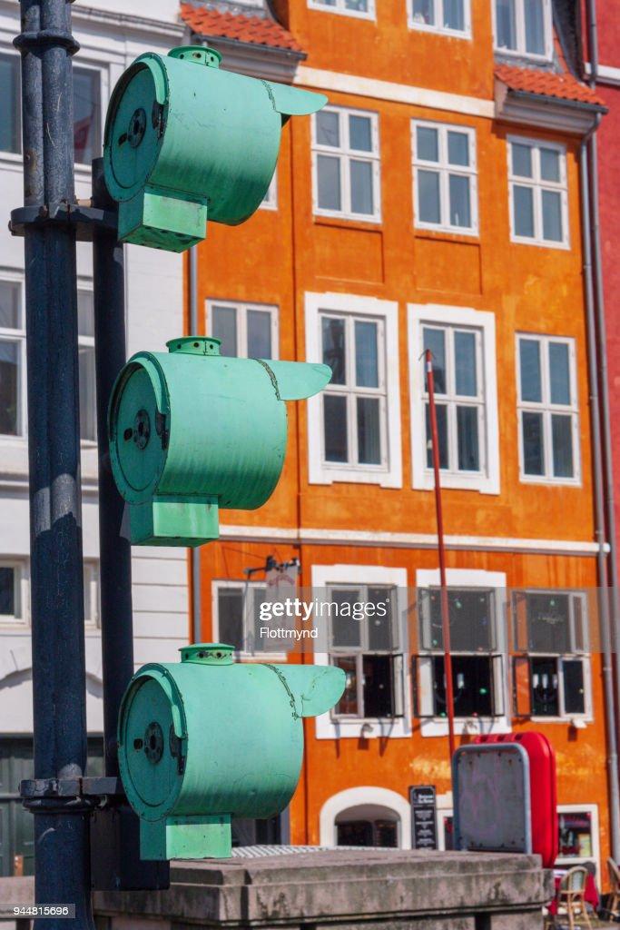 Three green lights in Nyhavn Copenhagen, Denmark : Stock Photo