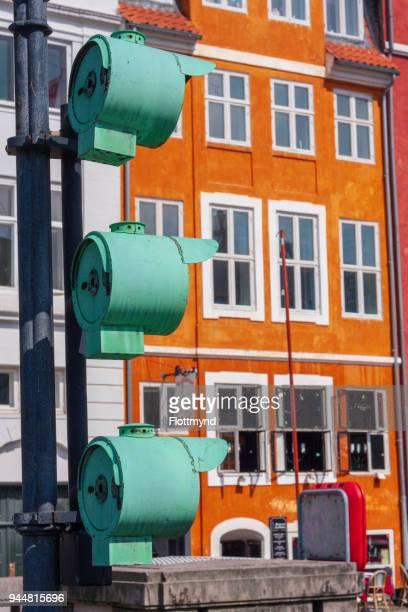 Three green lights in Nyhavn Copenhagen, Denmark