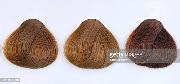 three hair samples - highlights hair stock pictures, royalty-free photos & images