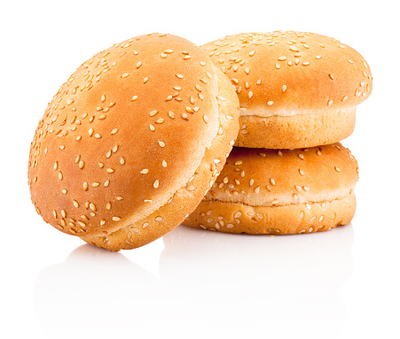 Three hamburger buns with sesame isolated on white background 921987238