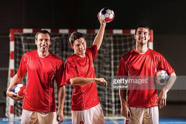 three handball players. - handball stock pictures, royalty-free photos & images
