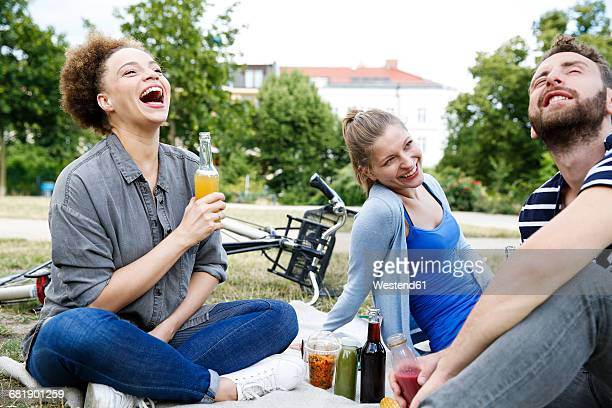 three happy friends drinking in park - public park stock-fotos und bilder