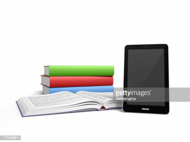 Three hardcover books and an e- reader